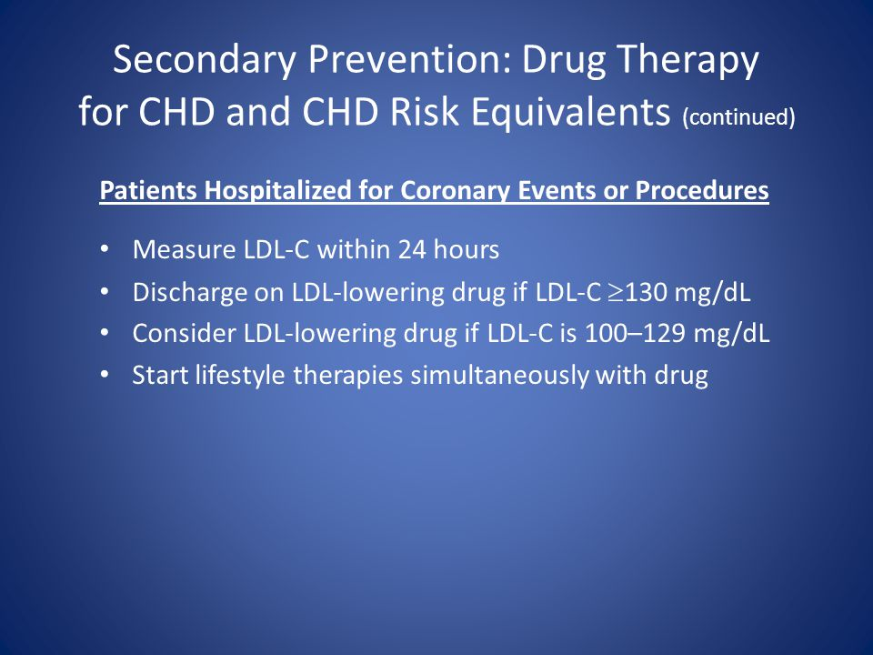 Secondary Prevention: Drug Therapy for CHD and CHD Risk Equivalents (continued) Patients Hospitalized for Coronary Events or Procedures Measure LDL-C