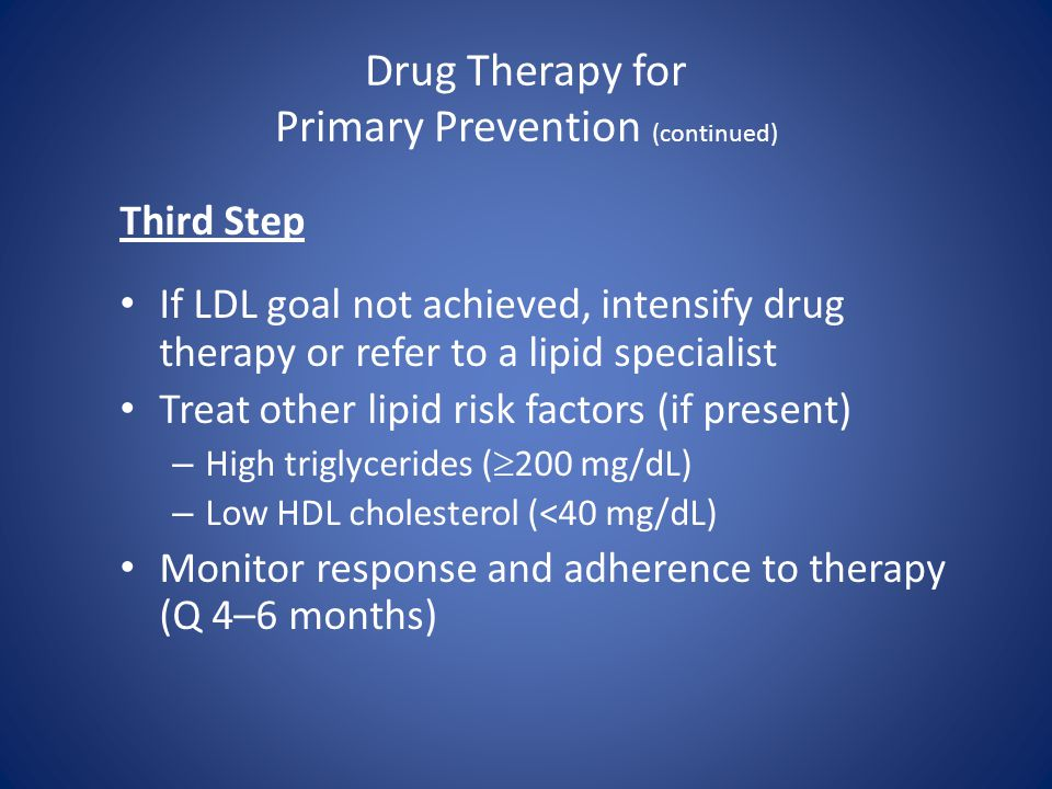 Drug Therapy for Primary Prevention (continued) Third Step If LDL goal not achieved, intensify drug therapy or refer to a lipid specialist Treat other