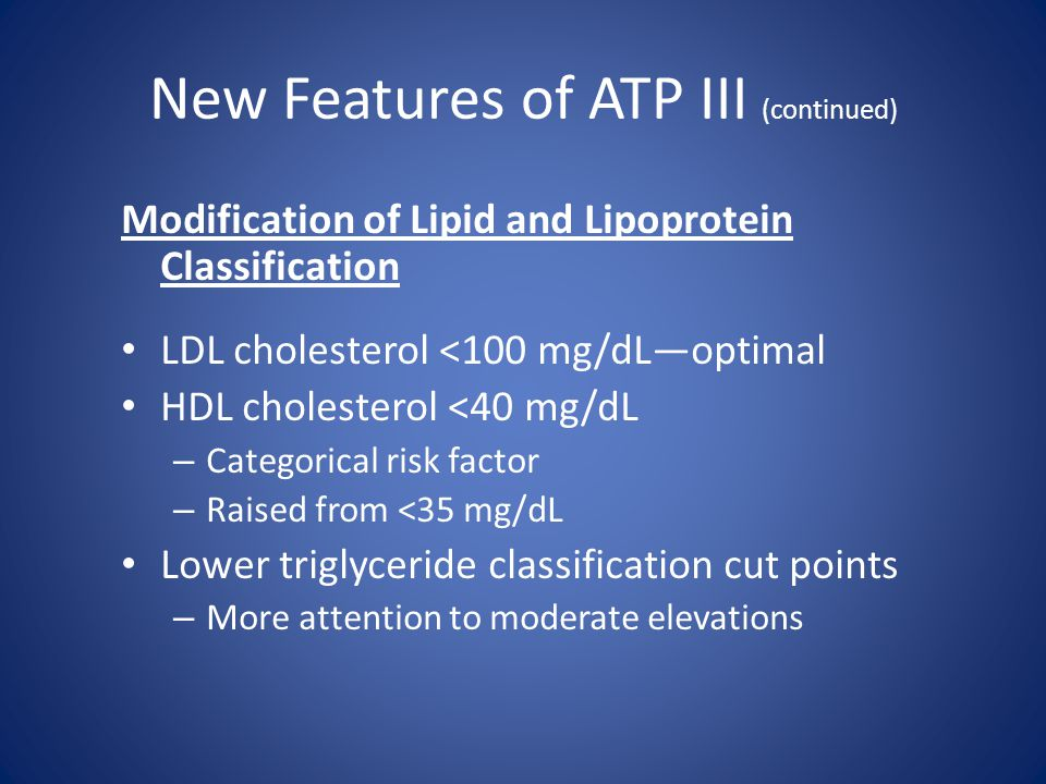 New Features of ATP III (continued) Modification of Lipid and Lipoprotein Classification LDL cholesterol <100 mg/dL—optimal HDL cholesterol <40 mg/dL