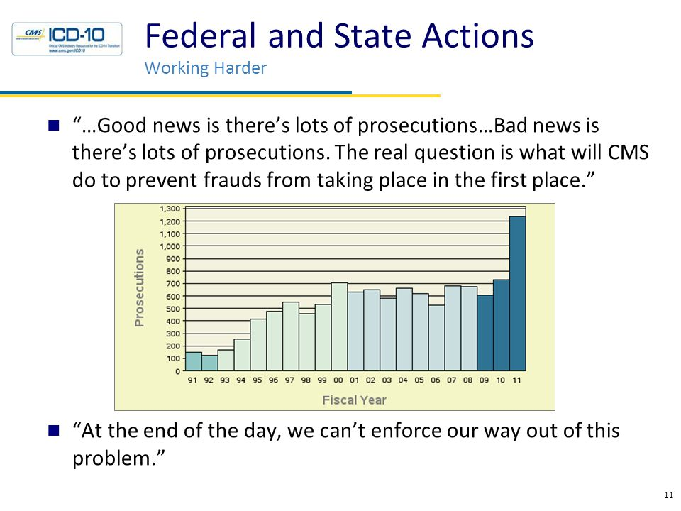 """…Good news is there's lots of prosecutions…Bad news is there's lots of prosecutions. The real question is what will CMS do to prevent frauds from tak"