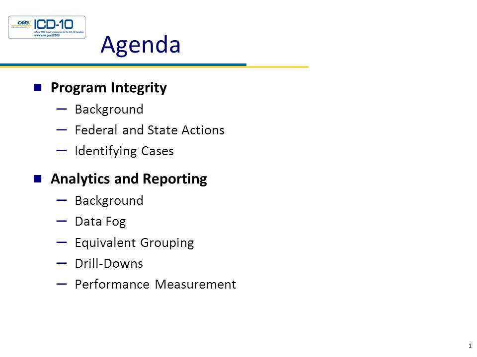 Agenda Program Integrity – Background – Federal and State Actions – Identifying Cases Analytics and Reporting – Background – Data Fog – Equivalent Gro
