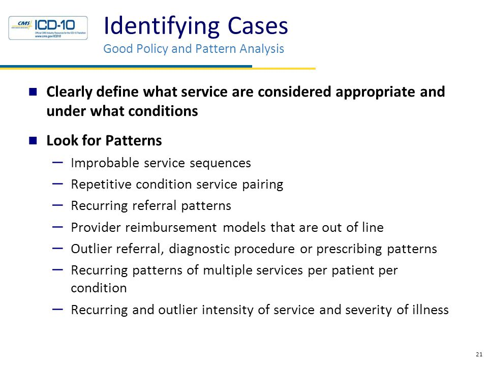 Identifying Cases Good Policy and Pattern Analysis Clearly define what service are considered appropriate and under what conditions Look for Patterns