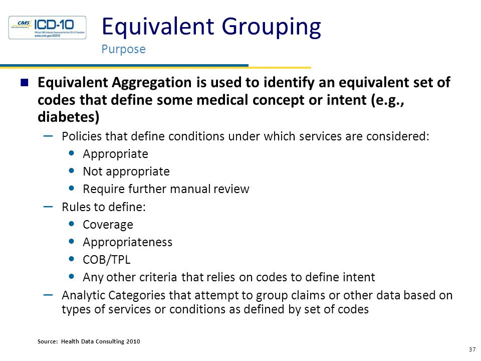 Equivalent Grouping Purpose Equivalent Aggregation is used to identify an equivalent set of codes that define some medical concept or intent (e.g., di