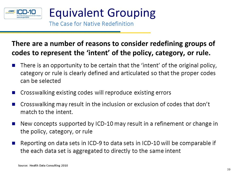 Equivalent Grouping The Case for Native Redefinition There are a number of reasons to consider redefining groups of codes to represent the 'intent' of