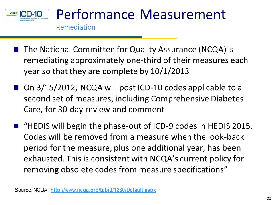 The National Committee for Quality Assurance (NCQA) is remediating approximately one-third of their measures each year so that they are complete by 10