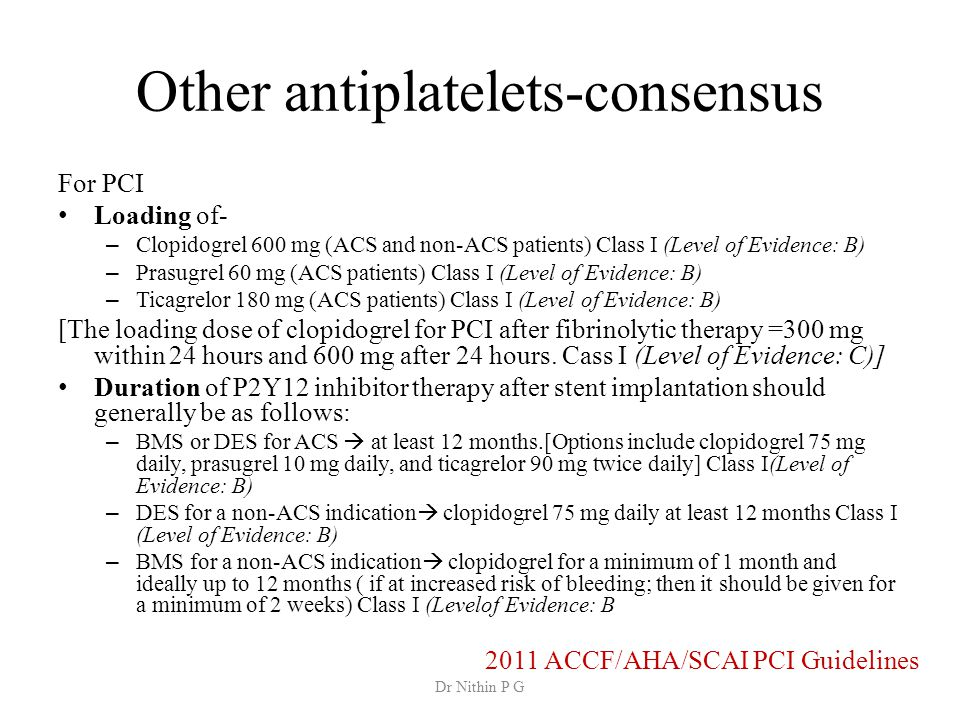 Other antiplatelets-consensus For PCI Loading of- – Clopidogrel 600 mg (ACS and non-ACS patients) Class I (Level of Evidence: B) – Prasugrel 60 mg (ACS patients) Class I (Level of Evidence: B) – Ticagrelor 180 mg (ACS patients) Class I (Level of Evidence: B) [The loading dose of clopidogrel for PCI after fibrinolytic therapy =300 mg within 24 hours and 600 mg after 24 hours.