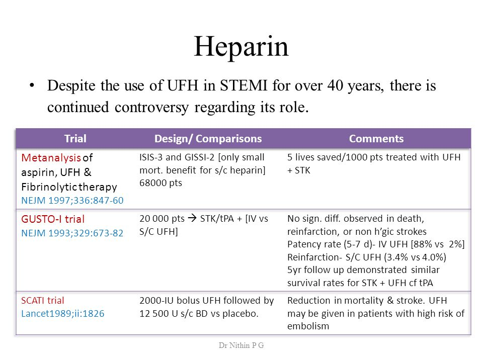 Heparin Despite the use of UFH in STEMI for over 40 years, there is continued controversy regarding its role.