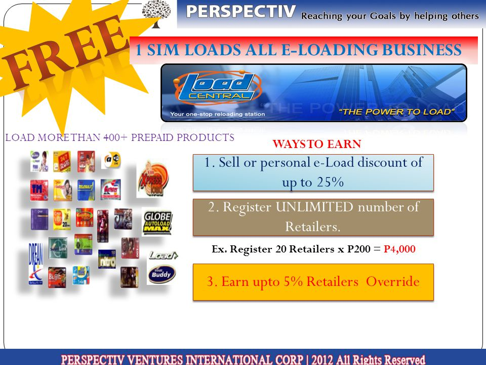 1 SIM LOADS ALL E-LOADING BUSINESS LOAD MORE THAN 400+ PREPAID PRODUCTS WAYS TO EARN 1.
