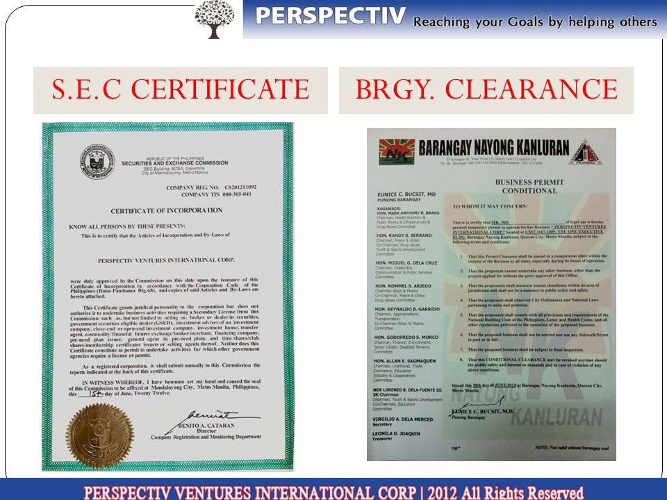 S.E.C CERTIFICATEBRGY. CLEARANCE