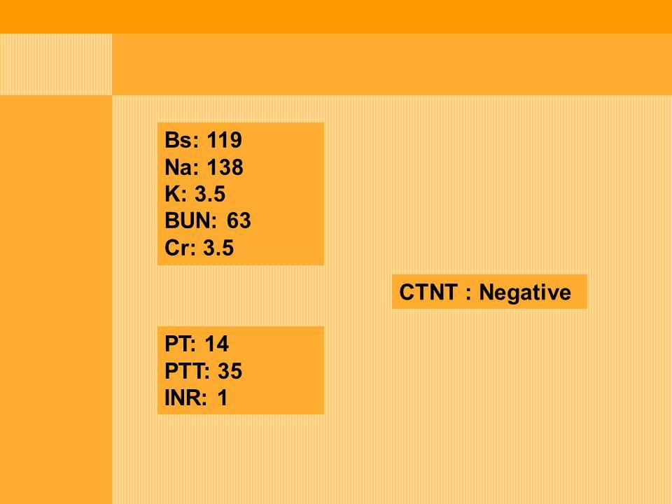 Bs: 119 Na: 138 K: 3.5 BUN: 63 Cr: 3.5 PT: 14 PTT: 35 INR: 1 CTNT : Negative