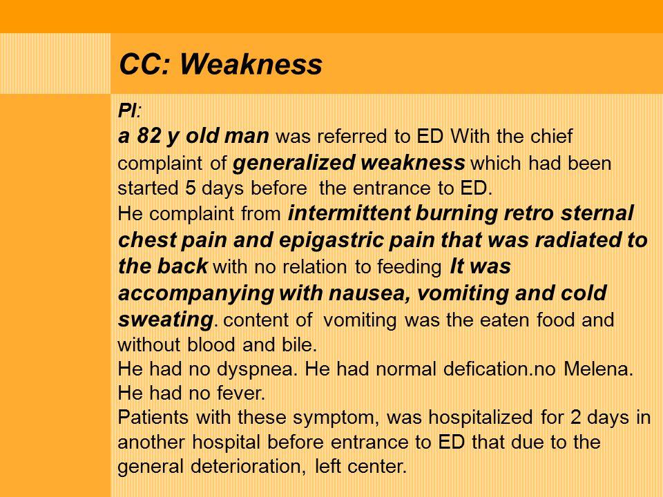 PMH: IHD + CCU addmition + HTN+ DM- Dyspepsia or epigastric discomfort +