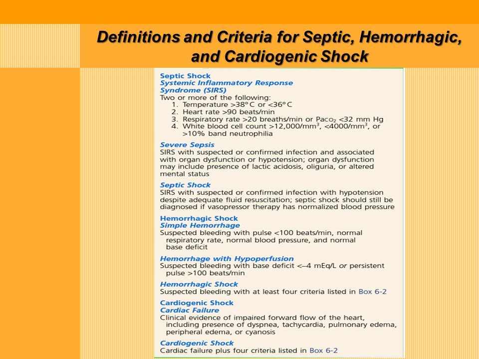 Definitions and Criteria for Septic, Hemorrhagic, and Cardiogenic Shock
