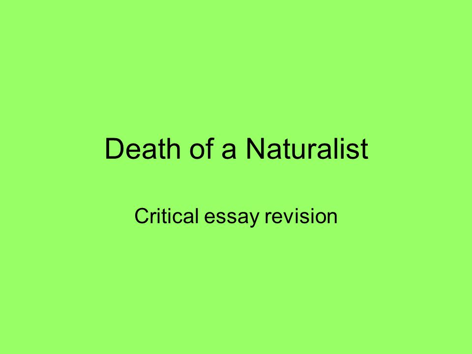 Death of a Naturalist Critical essay revision