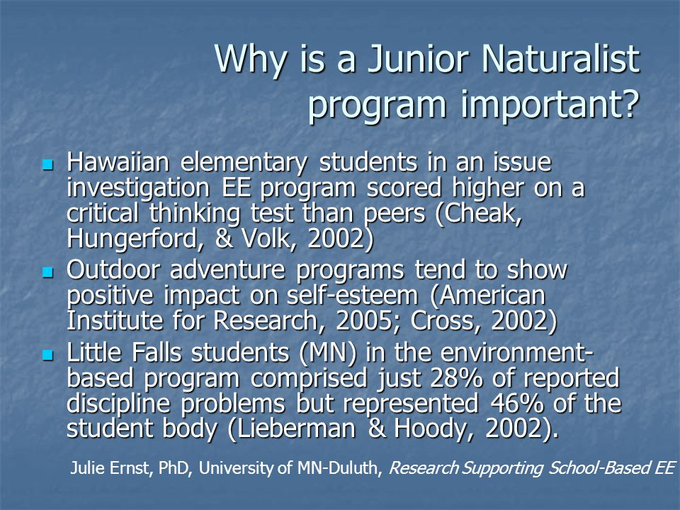 Why is a Junior Naturalist program important.
