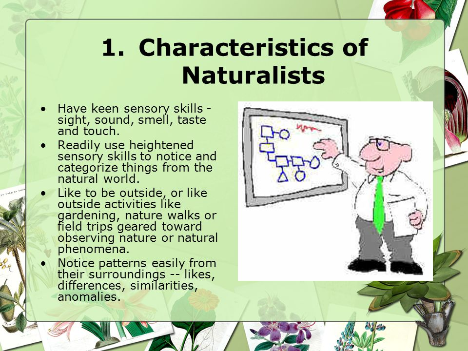 1.Characteristics of Naturalists Have keen sensory skills - sight, sound, smell, taste and touch.