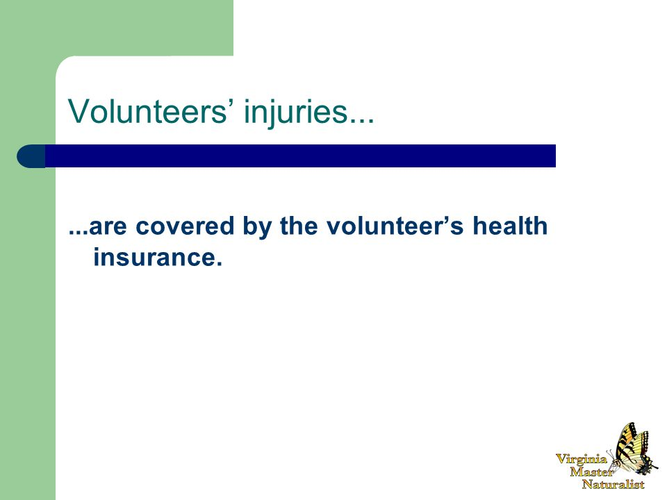 Volunteers' injuries......are covered by the volunteer's health insurance.