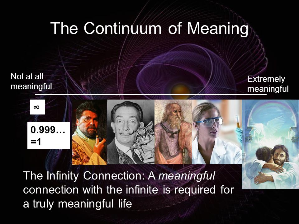 The Continuum of Meaning Not at all meaningful Extremely meaningful ∞ 0.999… =1 The Infinity Connection: A meaningful connection with the infinite is required for a truly meaningful life
