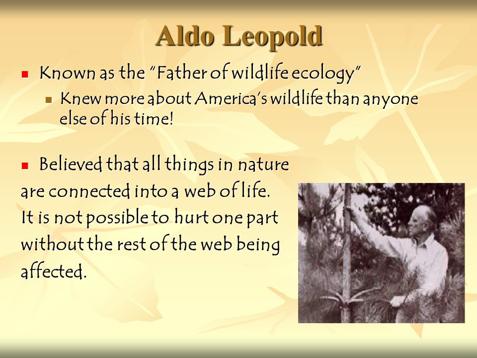 Aldo Leopold While living on a farm in Wisconsin, Aldo documented years of nature study through journaling While living on a farm in Wisconsin, Aldo documented years of nature study through journaling These journals were published in a book called The Sand County Almanac These journals were published in a book called The Sand County Almanac Introduced the idea of A Land Ethic Introduced the idea of A Land Ethic Taught that people should be stewards of the land.