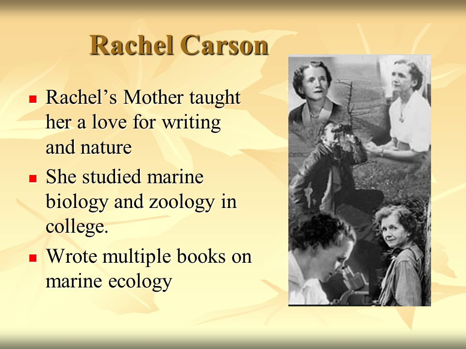 Rachel Carson Rachel's Mother taught her a love for writing and nature Rachel's Mother taught her a love for writing and nature She studied marine biology and zoology in college.