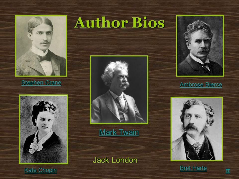 Author Bios π Mark Twain Mark Twain Ambrose Bierce Ambrose Bierce Kate Chopin Kate Chopin Bret Harte Bret Harte Stephen Crane Stephen Crane Jack Londo