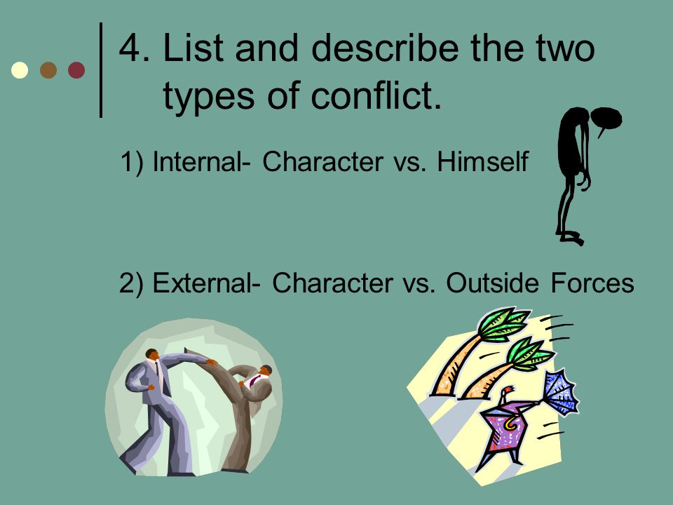 4. List and describe the two types of conflict. 1) Internal- Character vs. Himself 2) External- Character vs. Outside Forces