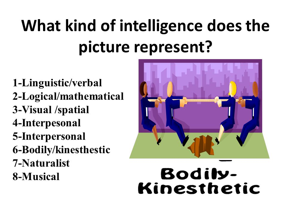 1-Linguistic/verbal 2-Logical/mathematical 3-Visual /spatial 4-Interpesonal 5-Intrapersonal 6-Bodily/kinesthestic 7-Naturalist 8-Musical What kind of intelligence does the picture represent?