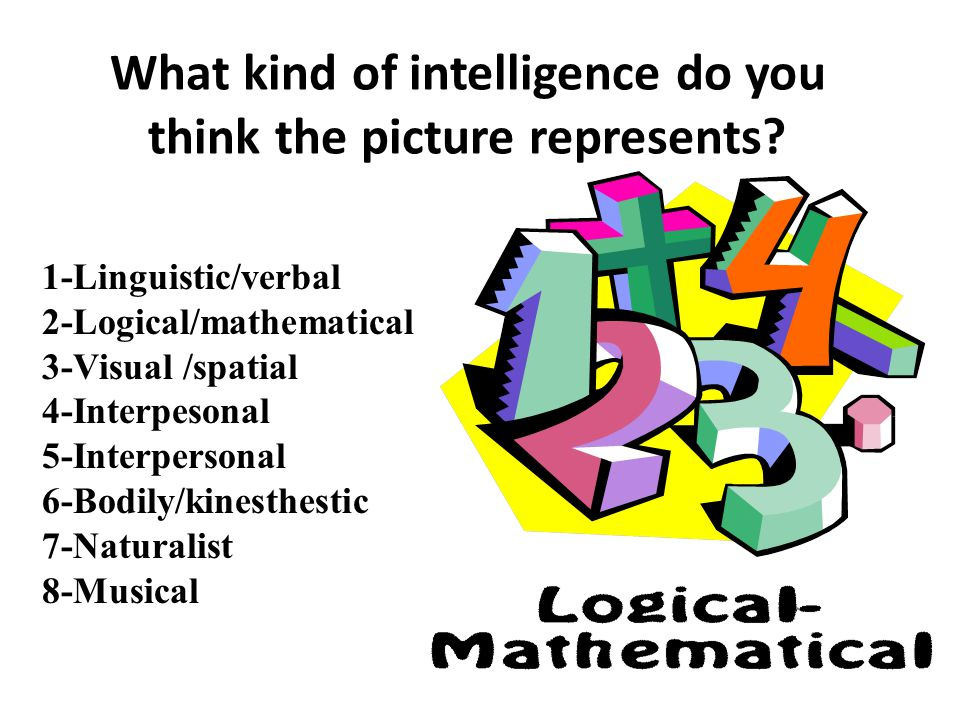 1-Linguistic/verbal 2-Logical/mathematical 3-Visual /spatial 4-Interpesonal 5-Interpersonal 6-Bodily/kinesthestic 7-Naturalist 8-Musical Visual What kind of intelligence does the picture represent?