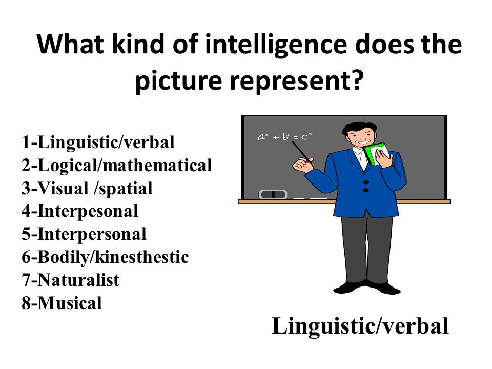 1-Linguistic/verbal 2-Logical/mathematical 3-Visual /spatial 4-Interpesonal 5-Interpersonal 6-Bodily/kinesthestic 7-Naturalist 8-Musical Linguistic/verbal What kind of intelligence does the picture represent