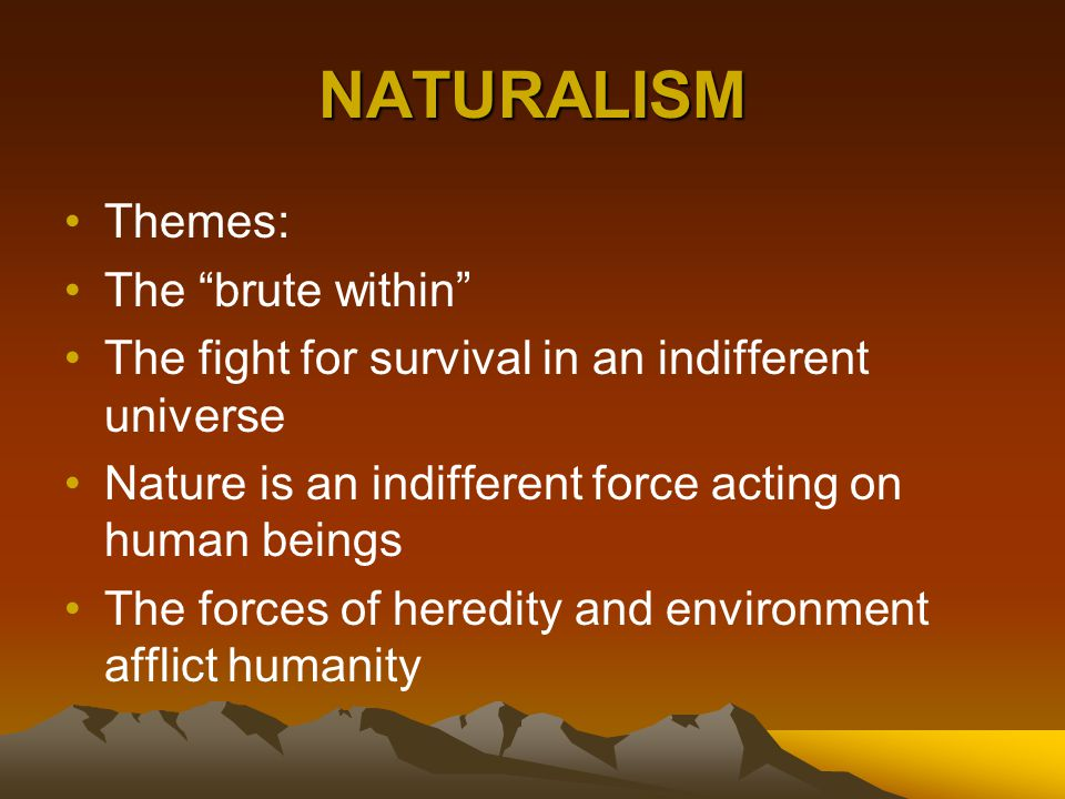 """NATURALISM Themes: The """"brute within"""" The fight for survival in an indifferent universe Nature is an indifferent force acting on human beings The forc"""