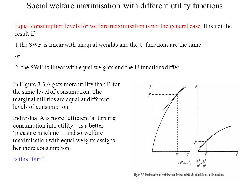 Social welfare maximisation with different utility functions Equal consumption levels for welfare maximisation is not the general case. It is not the