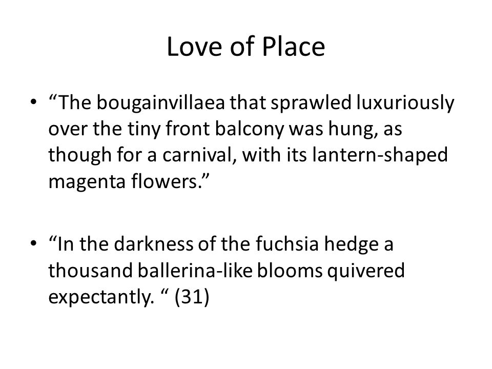 "Love of Place ""The bougainvillaea that sprawled luxuriously over the tiny front balcony was hung, as though for a carnival, with its lantern-shaped ma"