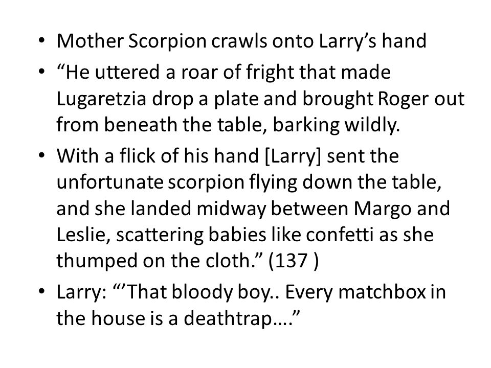 Mother Scorpion crawls onto Larry's hand He uttered a roar of fright that made Lugaretzia drop a plate and brought Roger out from beneath the table, barking wildly.