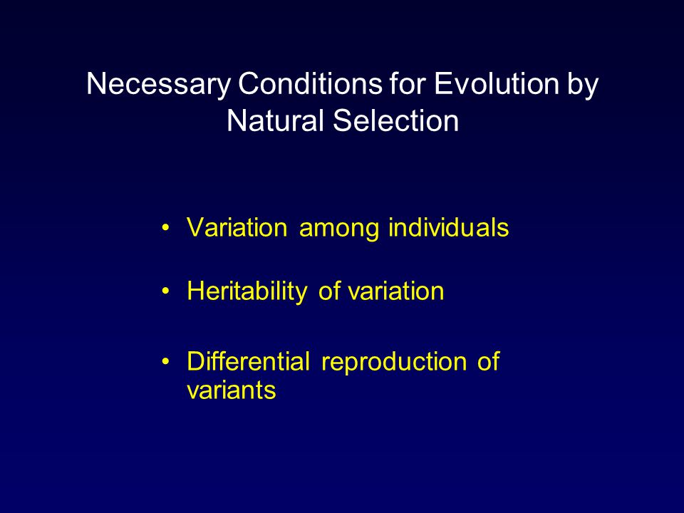 Necessary Conditions for Evolution by Natural Selection Variation among individuals Heritability of variation Differential reproduction of variants
