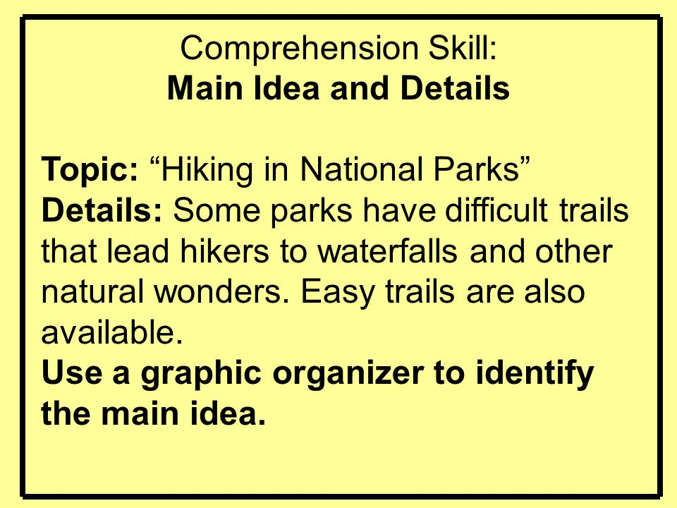 """Comprehension Skill: Main Idea and Details Topic: """"Hiking in National Parks"""" Details: Some parks have difficult trails that lead hikers to waterfalls"""