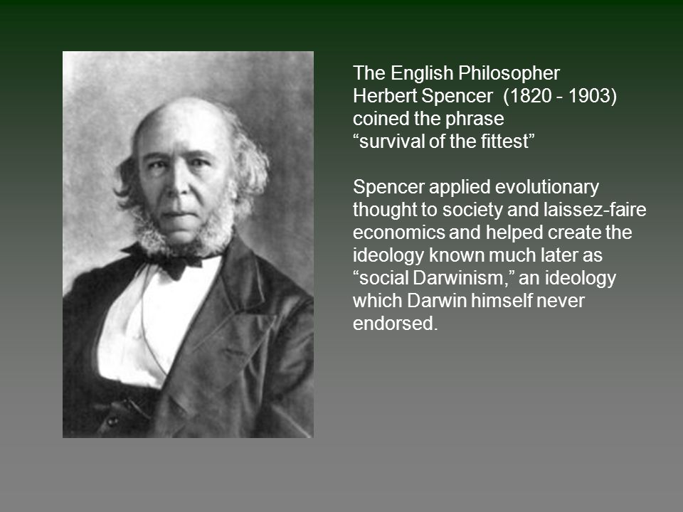 The English Philosopher Herbert Spencer (1820 - 1903) coined the phrase survival of the fittest Spencer applied evolutionary thought to society and laissez-faire economics and helped create the ideology known much later as social Darwinism, an ideology which Darwin himself never endorsed.