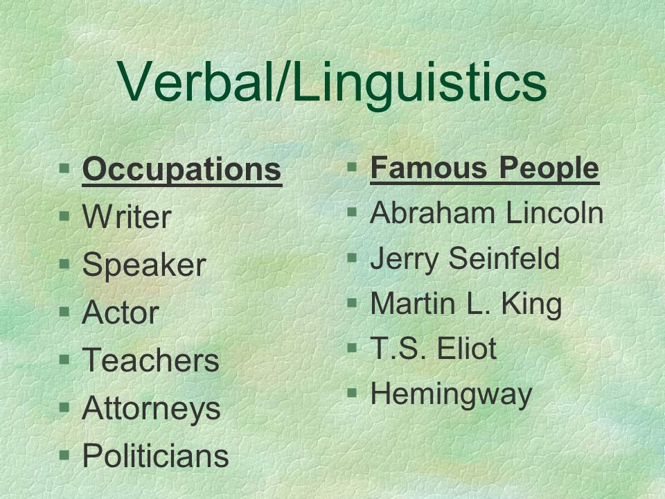Verbal/Linguistic §Reading/Writing §Debate/Speech §Word puzzles §Spelling/Vocab §Languages §Listening