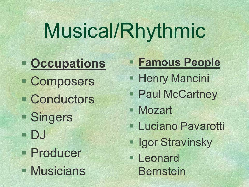 Musical/Rhythmic §Singing §Playing instruments §Rhythms/beats §Composing §Sound §Pitch