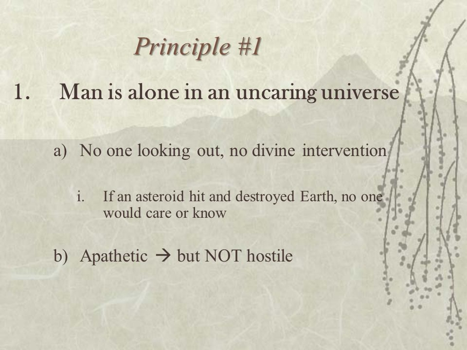 Principle #1 1.Man is alone in an uncaring universe a)No one looking out, no divine intervention i.If an asteroid hit and destroyed Earth, no one woul
