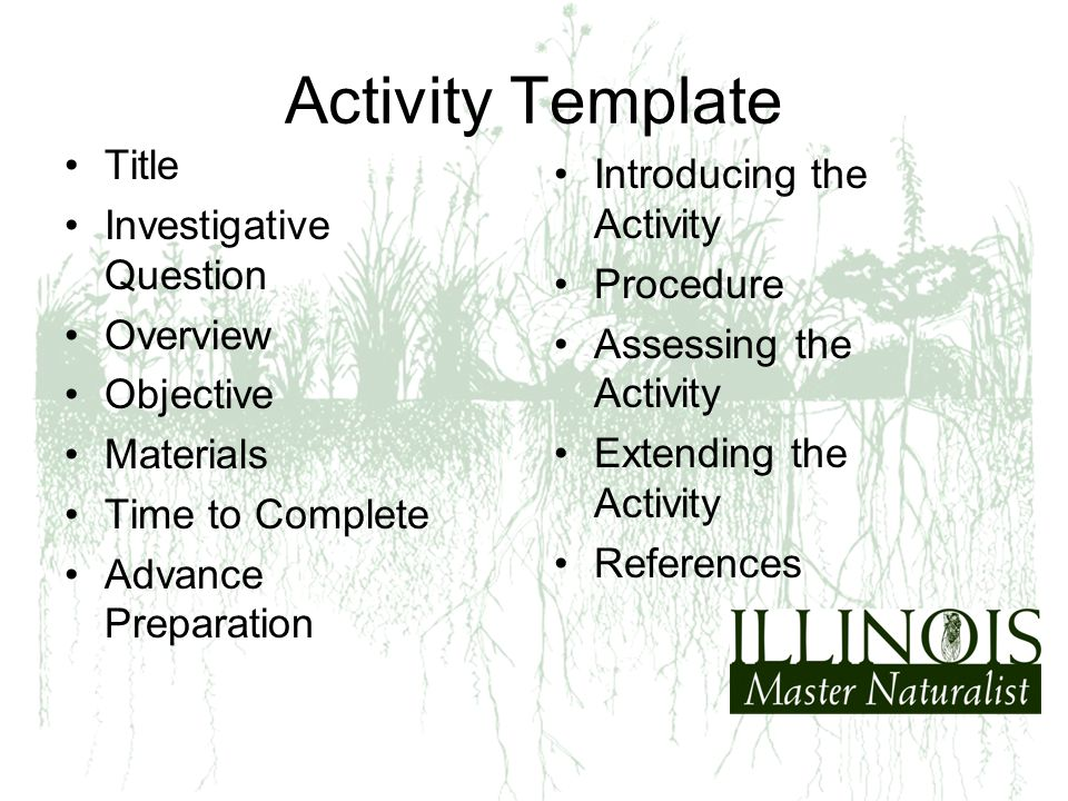 Activity Template Title Investigative Question Overview Objective Materials Time to Complete Advance Preparation Introducing the Activity Procedure As