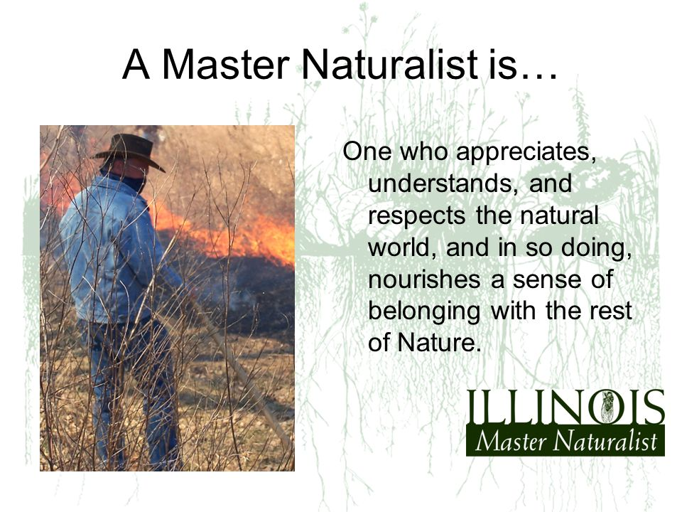 A Master Naturalist is… One who appreciates, understands, and respects the natural world, and in so doing, nourishes a sense of belonging with the res