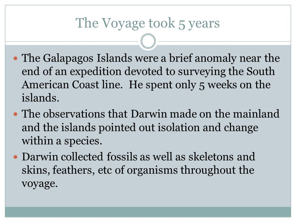 The Voyage took 5 years The Galapagos Islands were a brief anomaly near the end of an expedition devoted to surveying the South American Coast line.