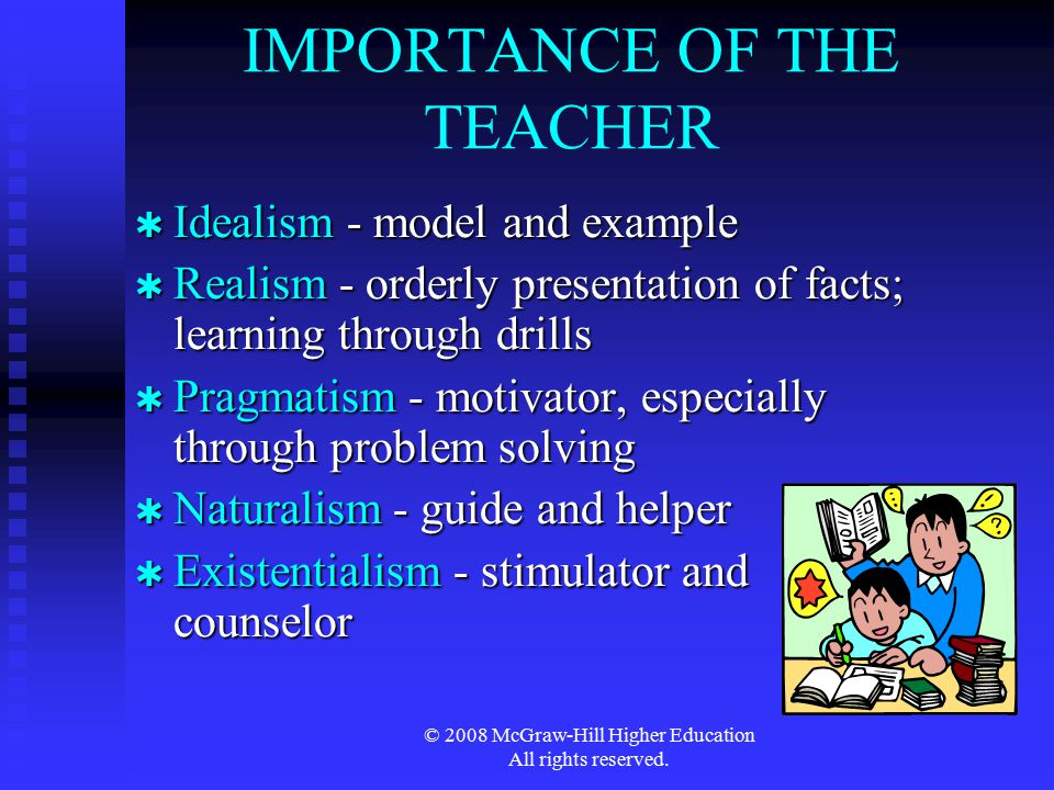 © 2008 McGraw-Hill Higher Education All rights reserved. IMPORTANCE OF THE TEACHER  Idealism - model and example  Realism - orderly presentation of