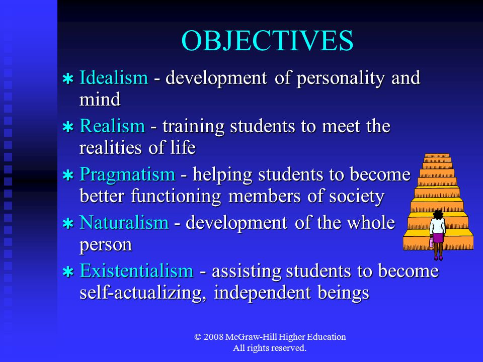 © 2008 McGraw-Hill Higher Education All rights reserved. OBJECTIVES  Idealism - development of personality and mind  Realism - training students to
