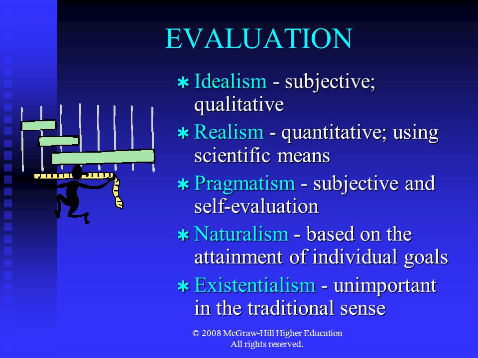 © 2008 McGraw-Hill Higher Education All rights reserved. EVALUATION  Idealism - subjective; qualitative  Realism - quantitative; using scientific me