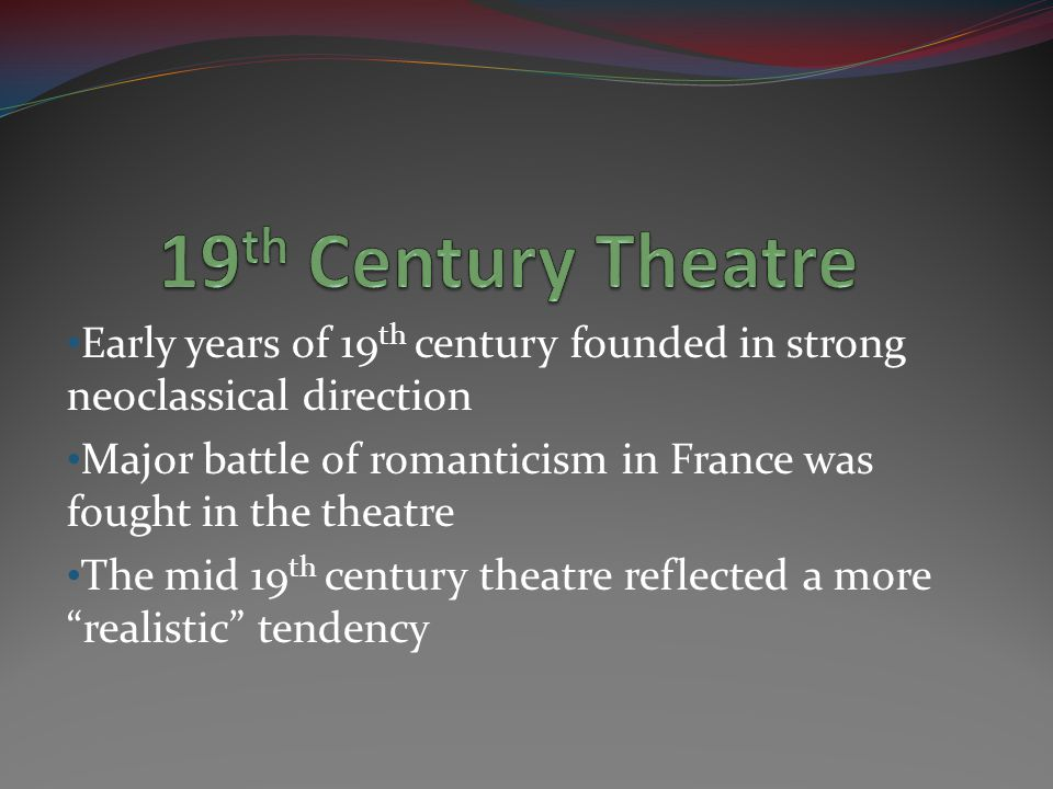 Theatre Libre = Free Theatre Founded in Paris by Andre Antoine in 1887 Dramatization of a Zola novel Exempt from censorship Combined realism with naturalism