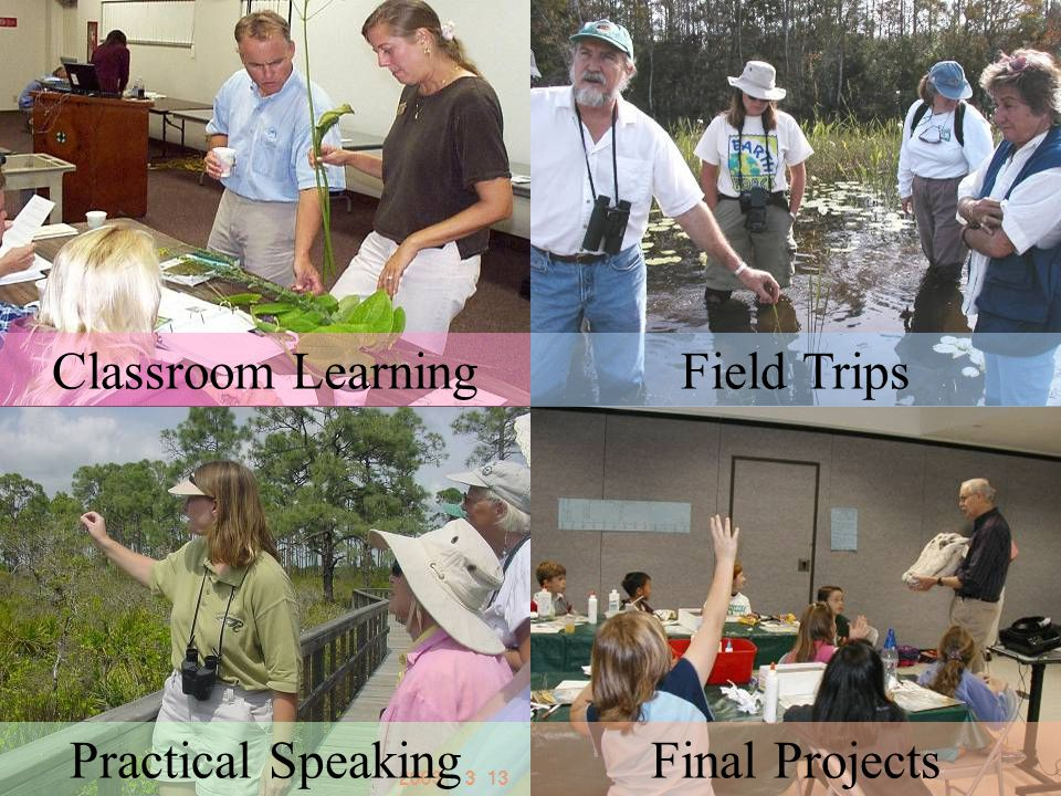 FMNP teaching/learning components - 40 hour program - Classroom Learning Practical Speaking Final Projects Field Trips