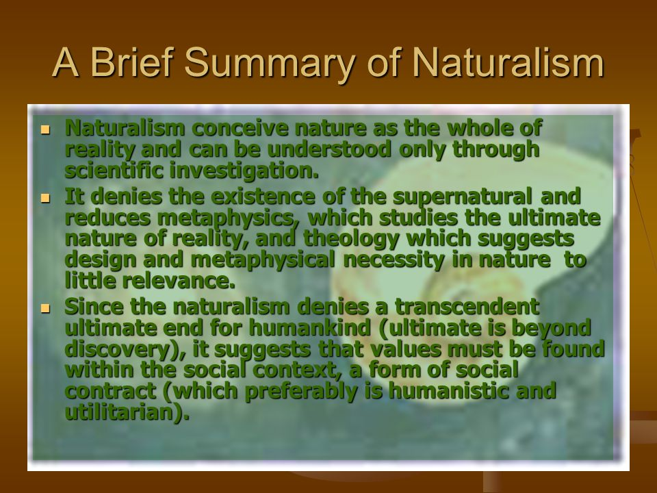 A Brief Summary of Naturalism Naturalism conceive nature as the whole of reality and can be understood only through scientific investigation. Naturali