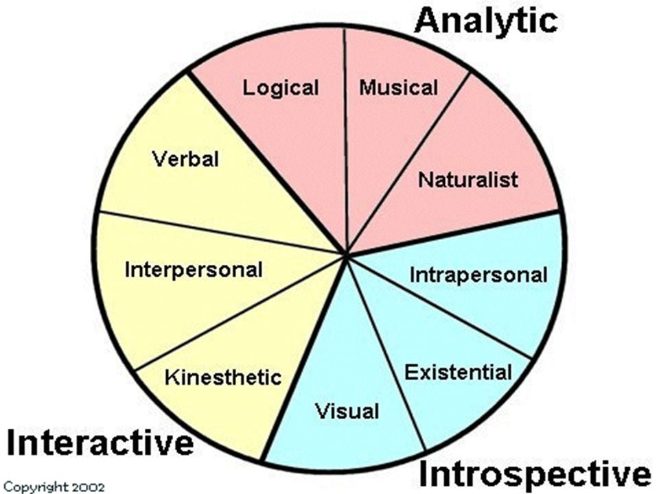 The Eight Multiple Intelligences Visual/Spatial Logical Mathematical Bodily Kinesthetic Naturalist Verbal/Linguistic Music/Rhythmic Intrapersonal Interpersonal
