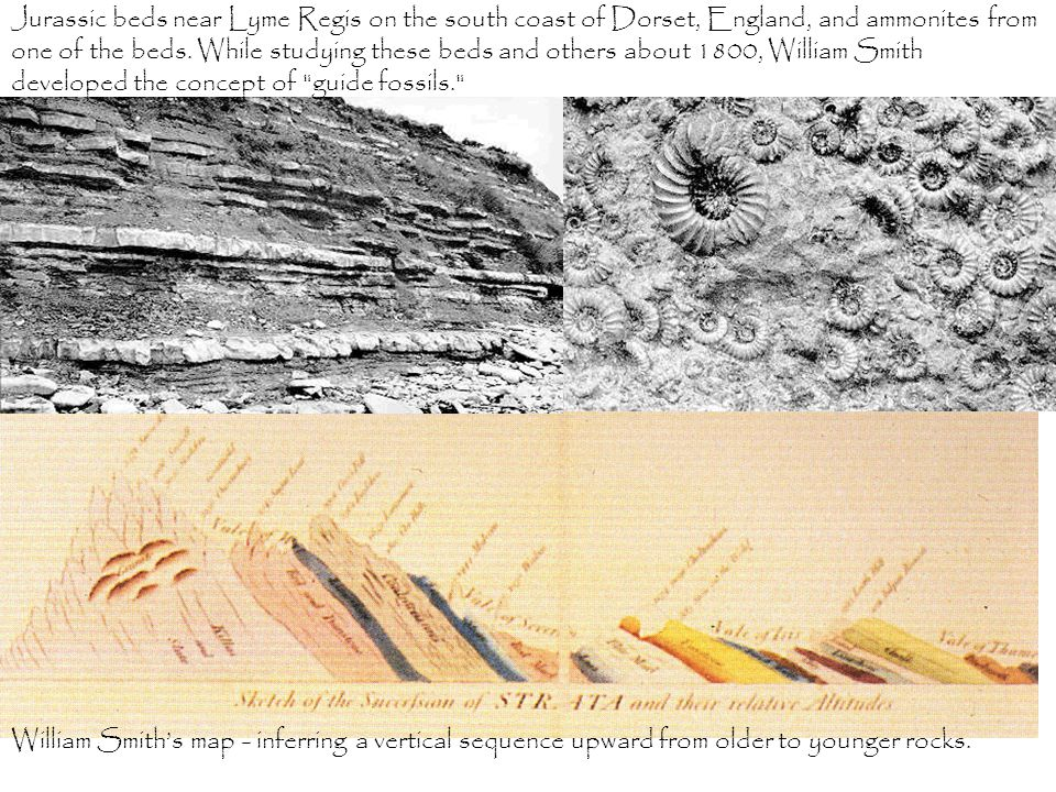 William Smith's map - inferring a vertical sequence upward from older to younger rocks.