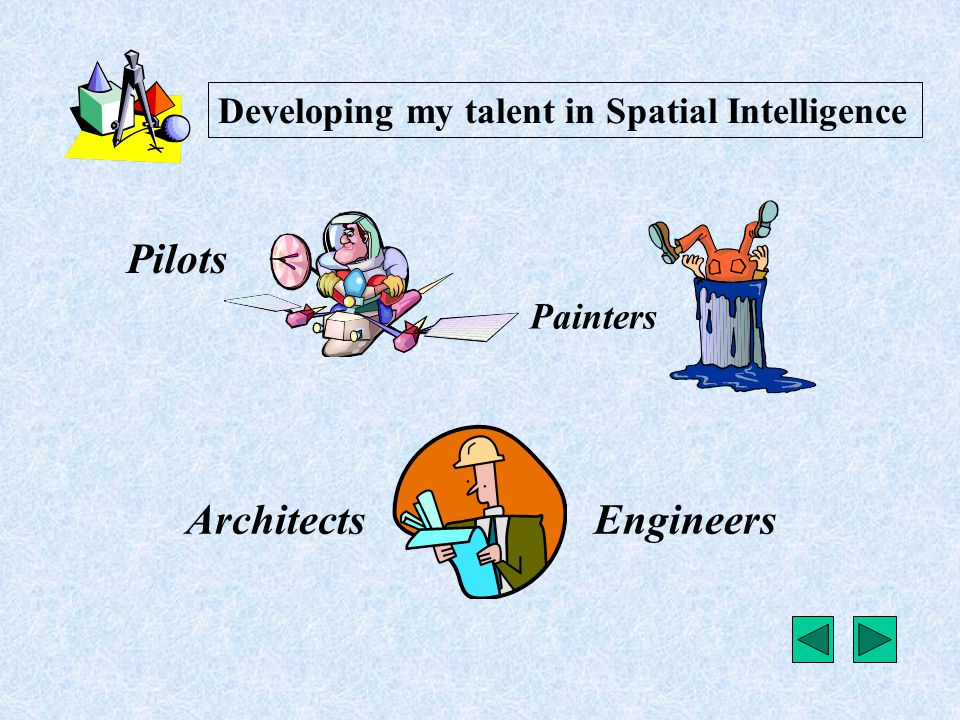 Pilots EngineersArchitects Painters Developing my talent in Spatial Intelligence